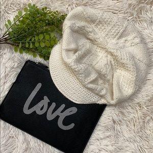Loft Winter Knit Brimmed Hat 💗 Ivory
